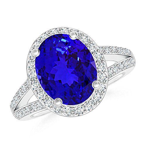 Angara Tanzanite Ring - GIA Certified Oval Tanzanite Ring with Baguette Diamonds AHE5KnEYr