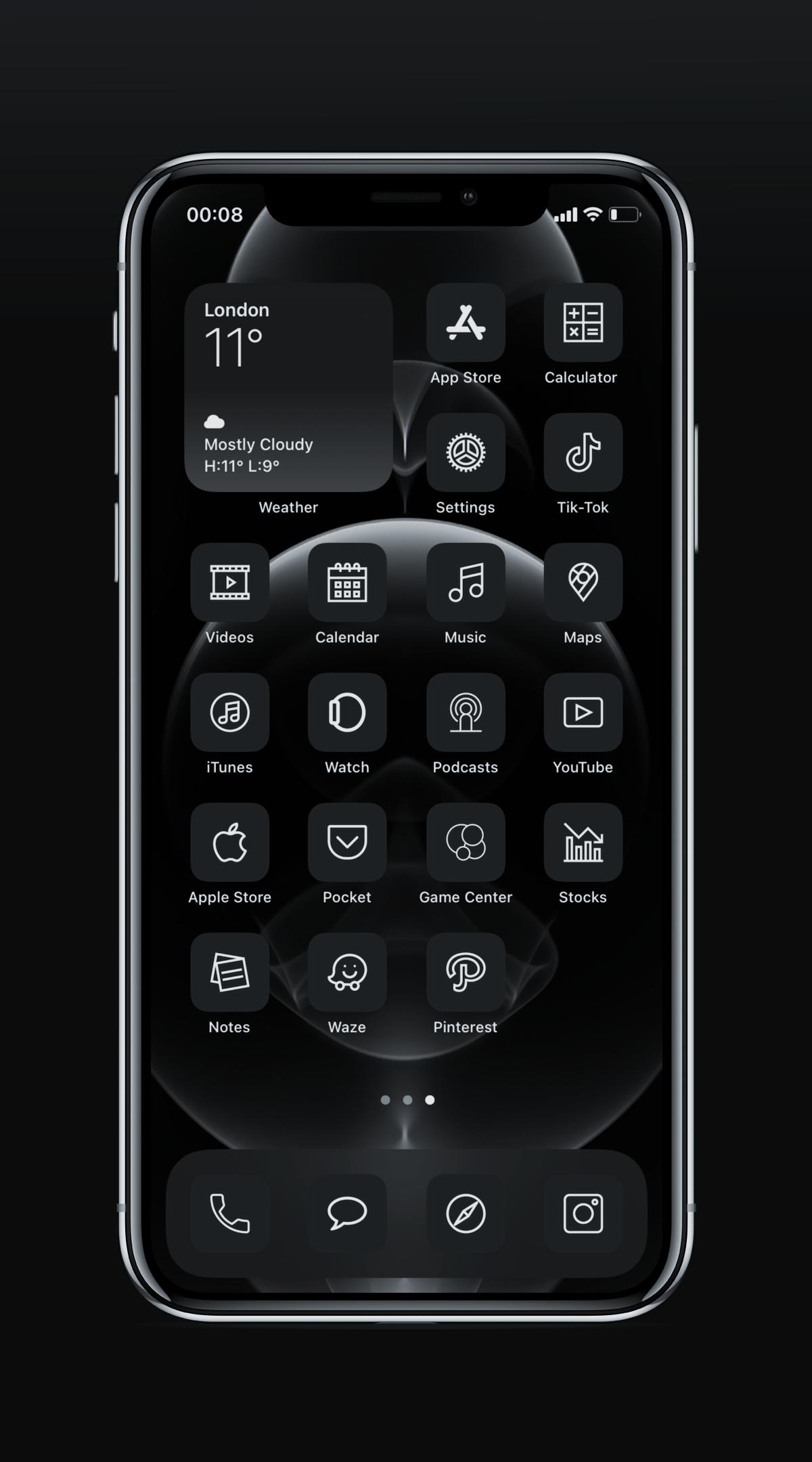 Ios 14 Graphite Homescreen Iphone 12 Pro Minimalistic Icons High Res 350 Icons Custom Made Homescreen Iphone Homescreen Minimalist Iphone