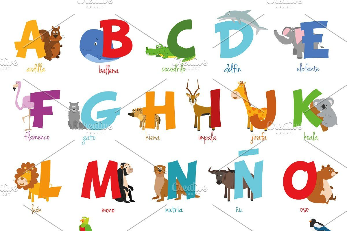 Spanish Animal Alphabet Vector In 2020 Animal Alphabet Spanish Animals Alphabet Illustration