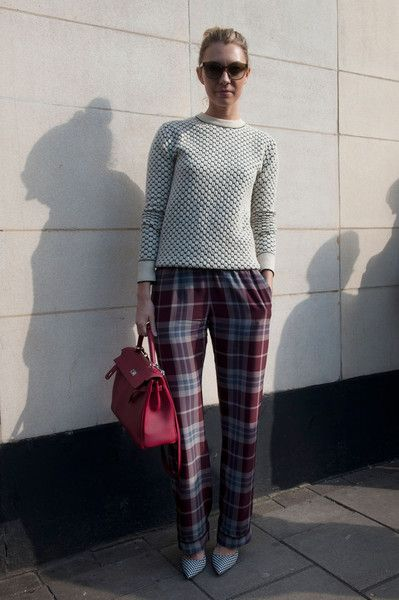 textured crewneck and plaid trousers // #streetstyle #nycstyle