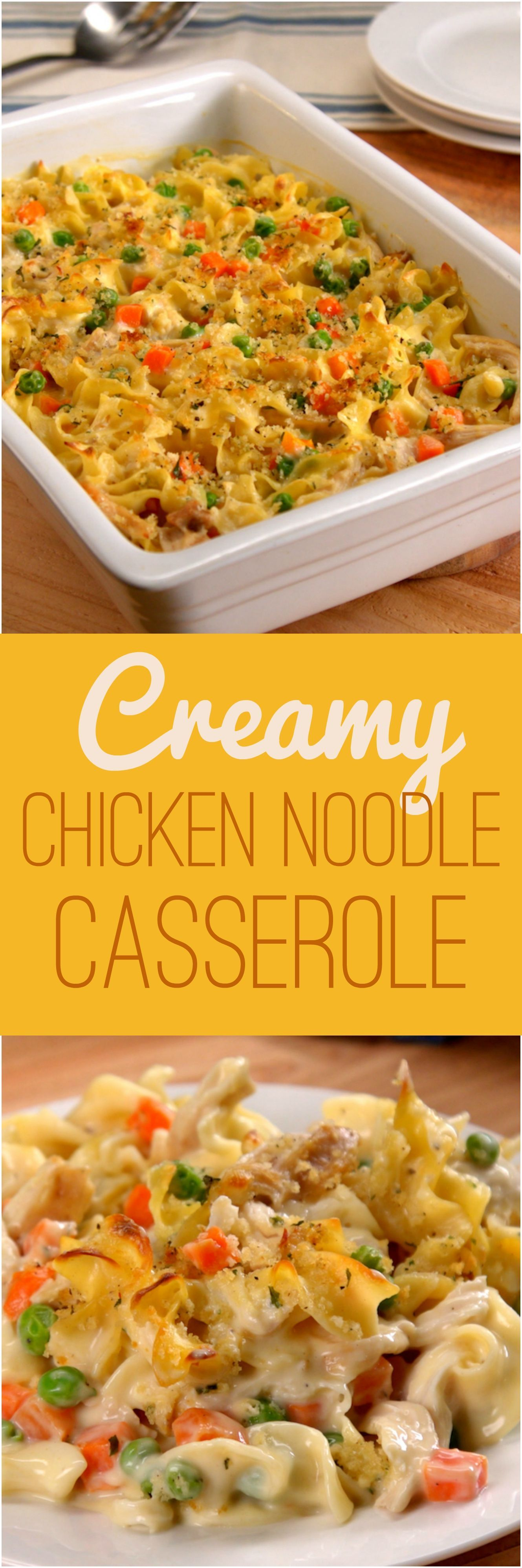 Chicken Noodle Casserole Chicken noodle soup is a magic food, and transforming the classic dish into a casserole only amplifies its comforting effects. This 30-minute chicken dinner has all the elements of traditional chicken soup: hearty egg noodles, tender chicken, peas 'n' carrots — but with a creamy sauce and crunchy topping that'll make y