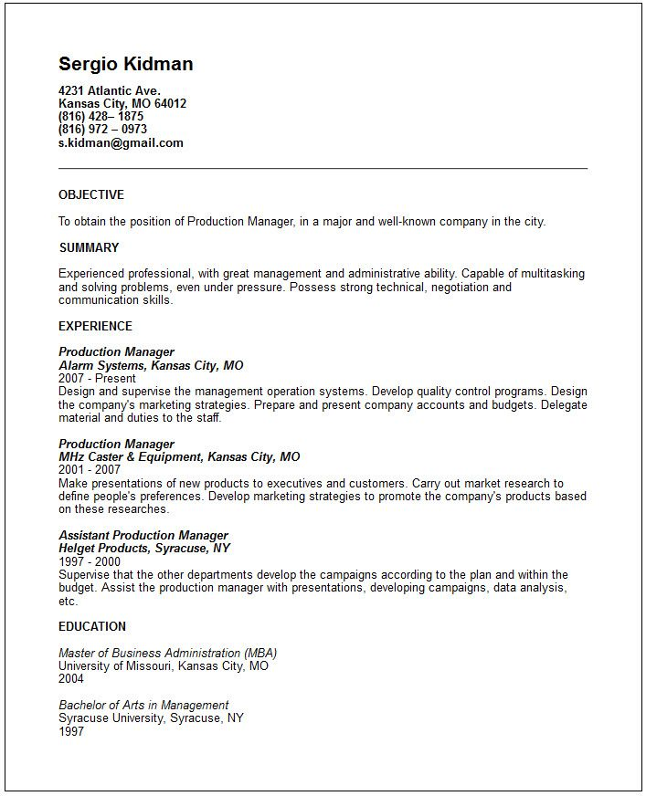 you can see our production manager resume example great way