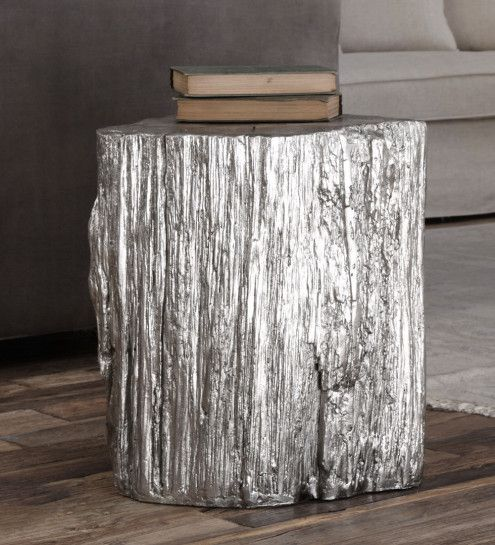 Silver Leafed Faux Stump Stool Coffee Amp Accent Tables