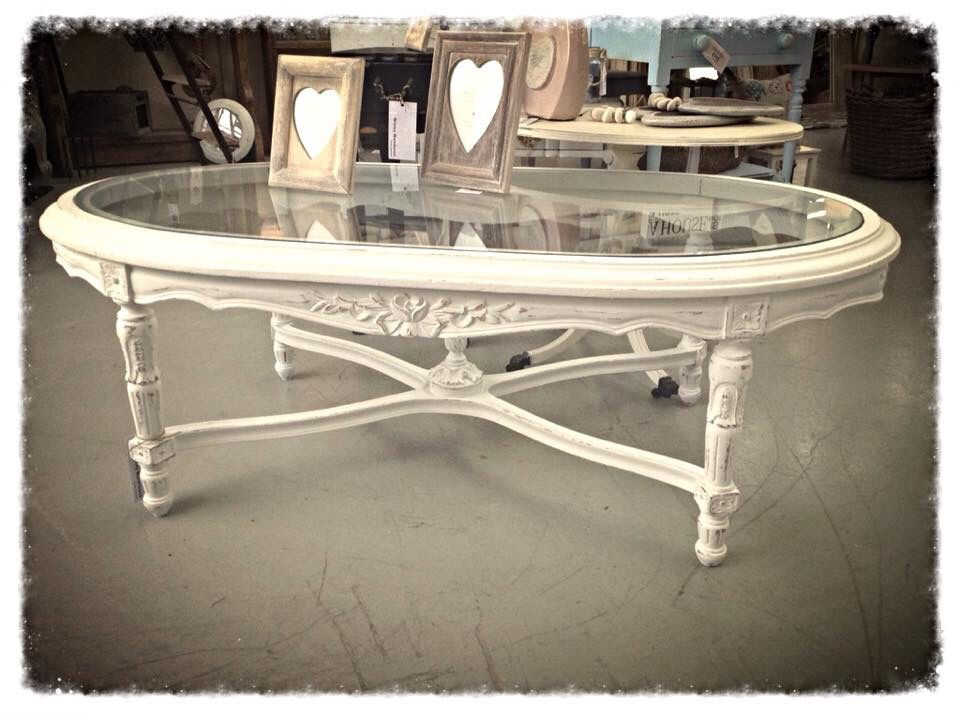 Vintage style oval glass topped coffee table hand painted in
