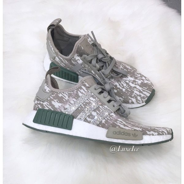 Adidas Nmd r1 Customized With Swarovski Xirius Rose-Cut Crystals. (1.665 NOK) ❤ liked on Polyvore featuring shoes, silver, sneakers & athletic shoes, women's shoes, bright shoes, cream shoes, logo shoes, polish shoes and bright colored shoes
