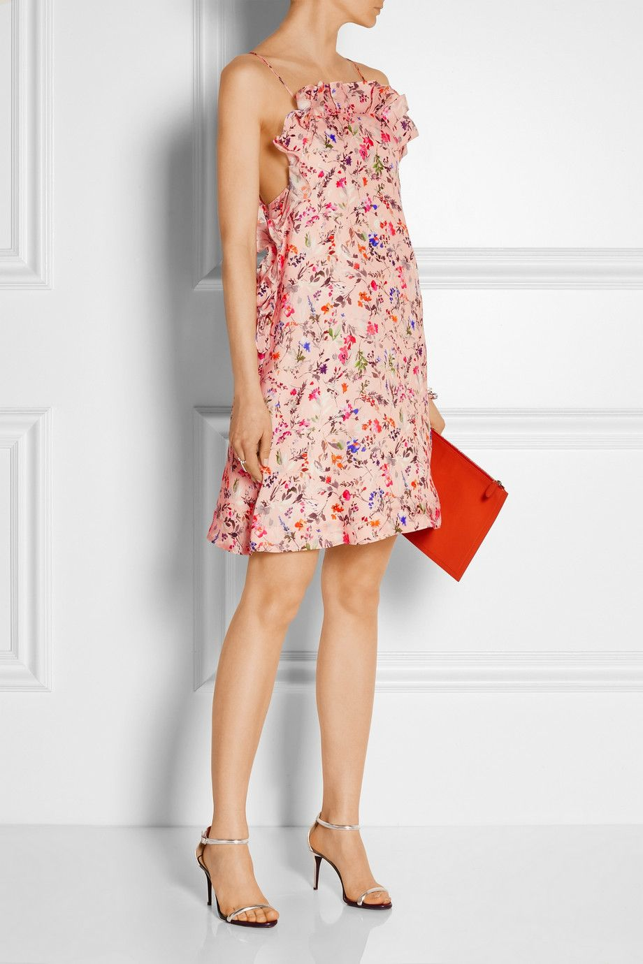 MSGM Floral-print woven silk mini dress | Outfits I like or just ...