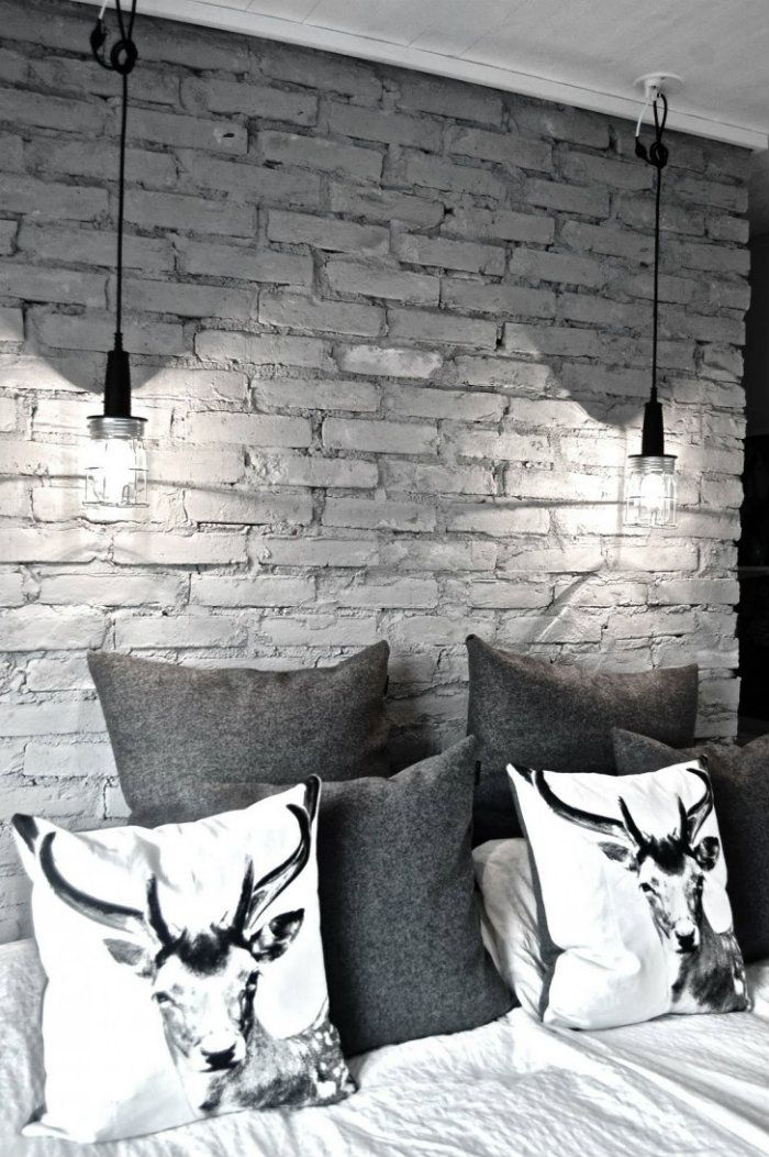 Gorgeous Grey For Home Decor Inspiration From 50 Shades Of Grey Brick Wall Bedroom White Brick Walls Brick Interior