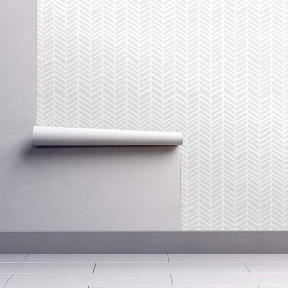 Chevron Wallpaper Herringbone Light Grey Macro By Friztin Etsy Chevron Wallpaper Herringbone Wallpaper Self Adhesive Wallpaper