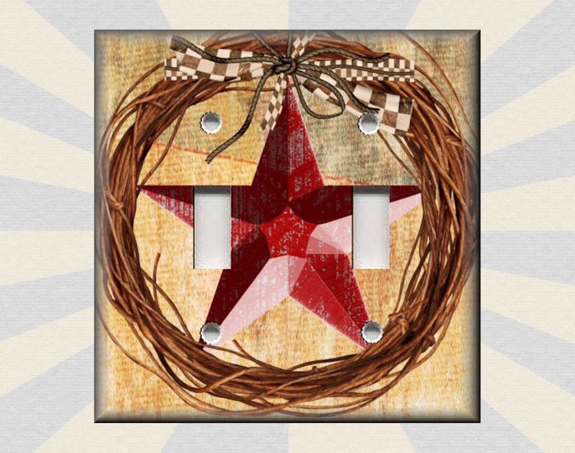 Metal light switch plate cover farmhouse decor red barn star