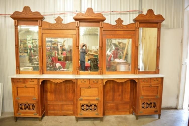 Antique August Kern Oak Barber Back Bar Wall Cabinets