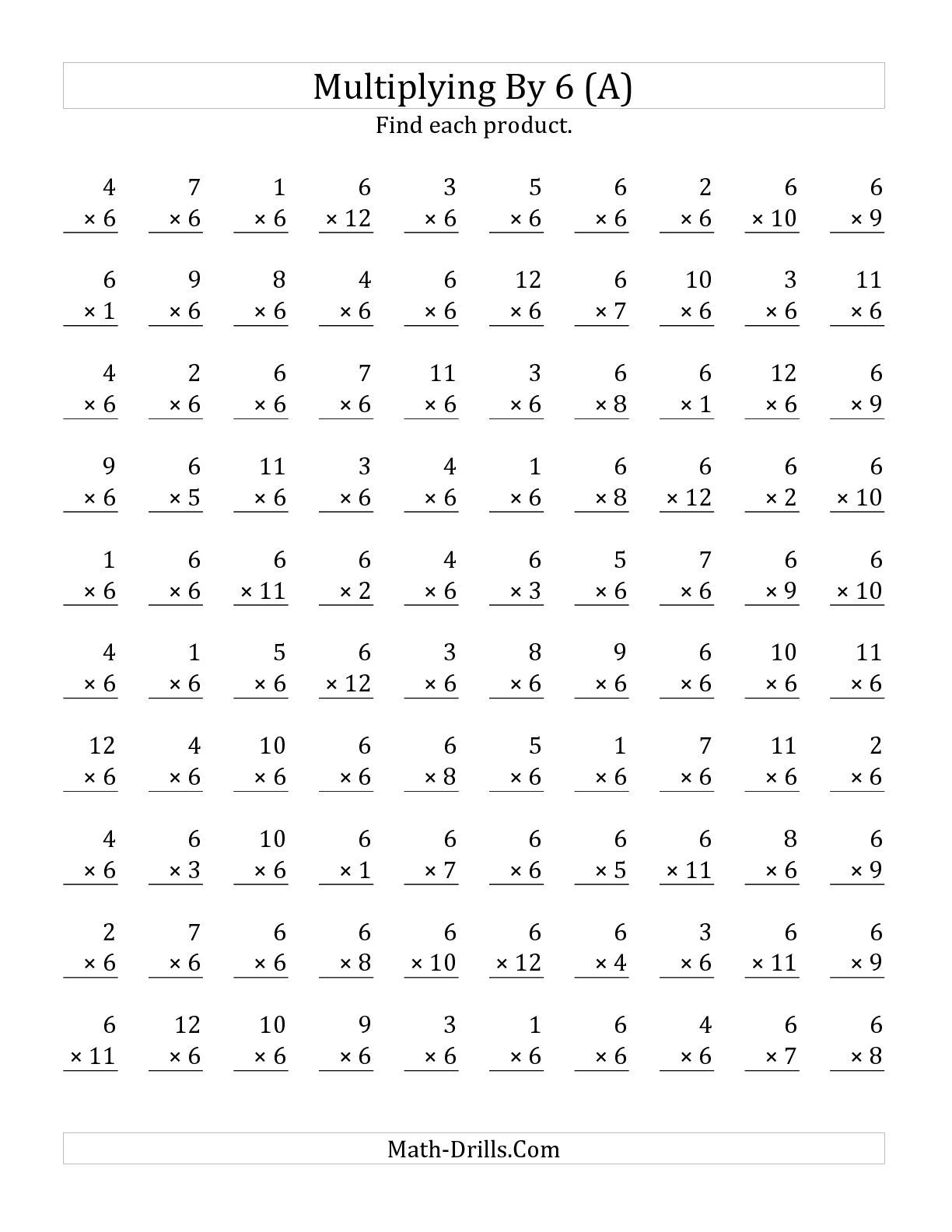 The Multiplying 1 To 12 By 6 A Math Worksheet From The Multiplication Wor Multiplication Worksheets Multiplication Facts Worksheets Printable Math Worksheets