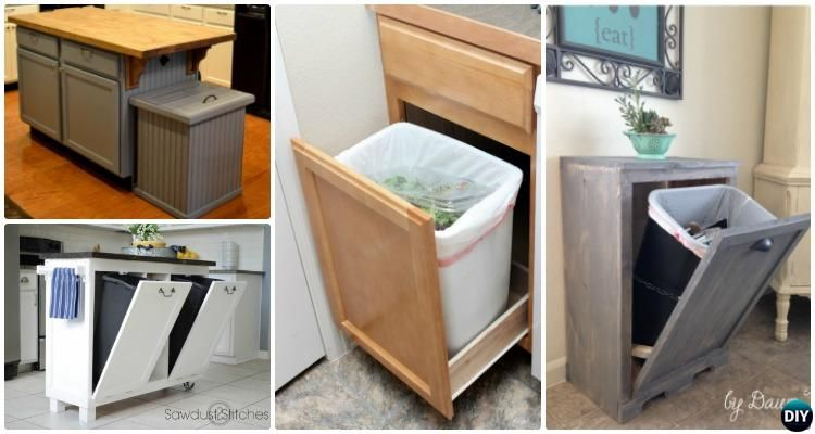 5 DIY Trash Can Cabinet Projects : Trash Cans In The Kitchen Can Be An  Eyesore