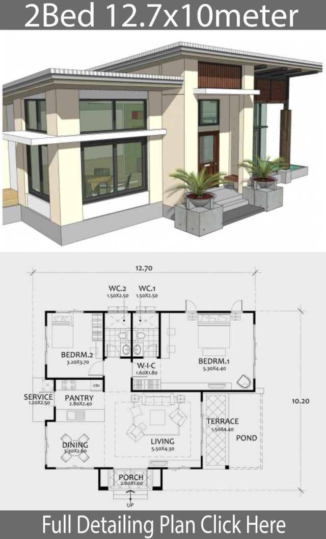 Home design plan 12.7x10m with 2 Bedrooms | Modern house ...