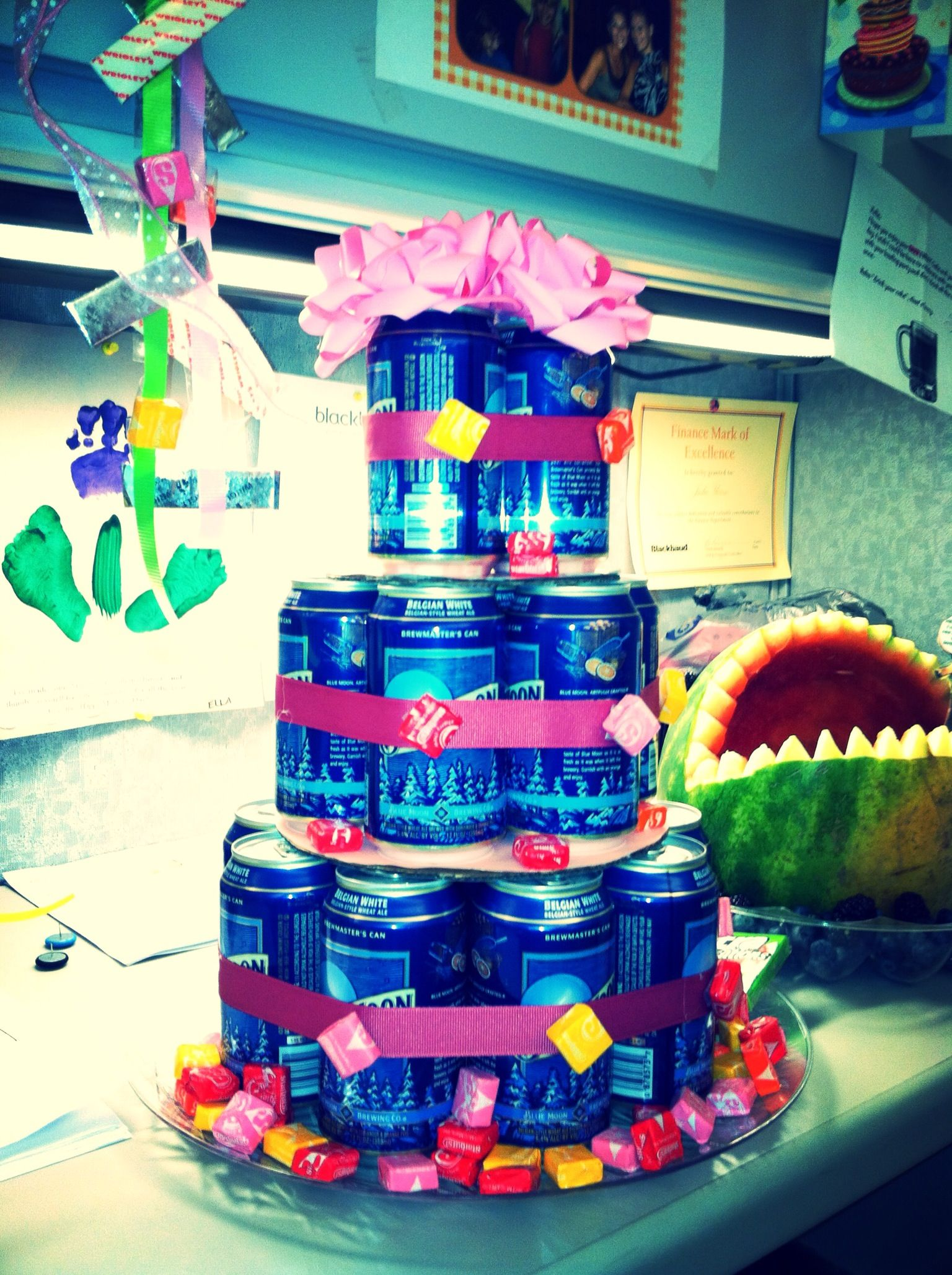 Blue moon beer tower for my birthday!