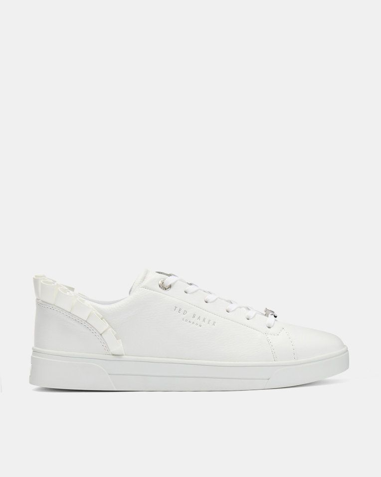 Ted Baker Women/'s Astrina White Ruffle Sneakers Shoes