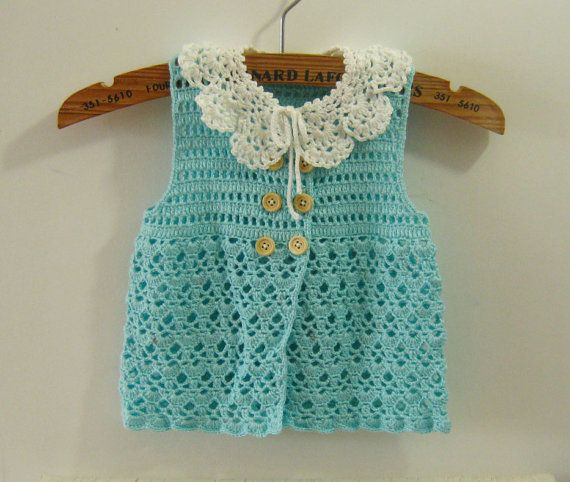 Blue Baby Dresses with Removable Collar, Crochet Newborn Baby ...