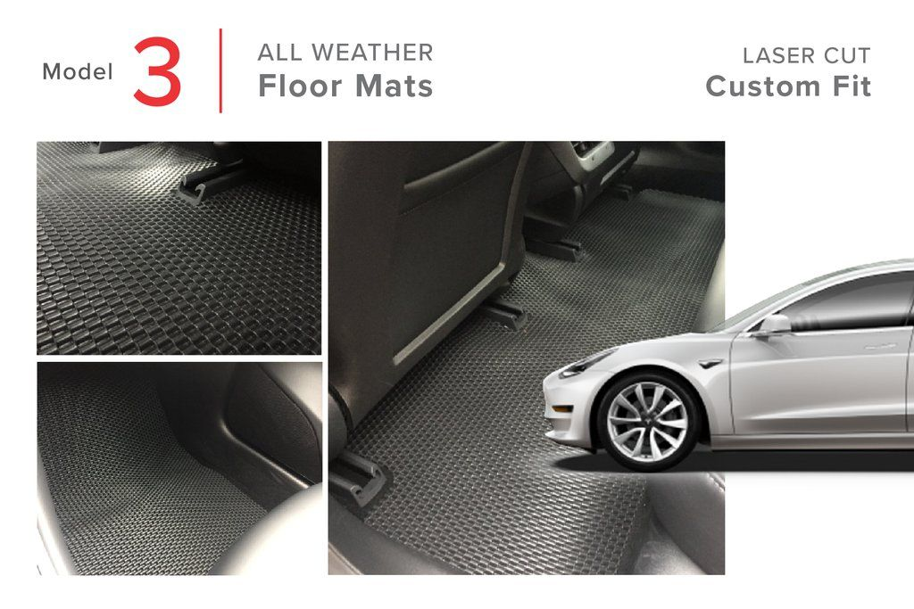 Tesla Model 3 All Weather Floor Mats Heavy Duty Rubber