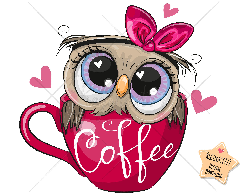 Cute Owl Png Coffee Digital Download Owl Clipart Adorable Etsy Owl Cartoon Cute Owl Drawing Cute Owl Cartoon