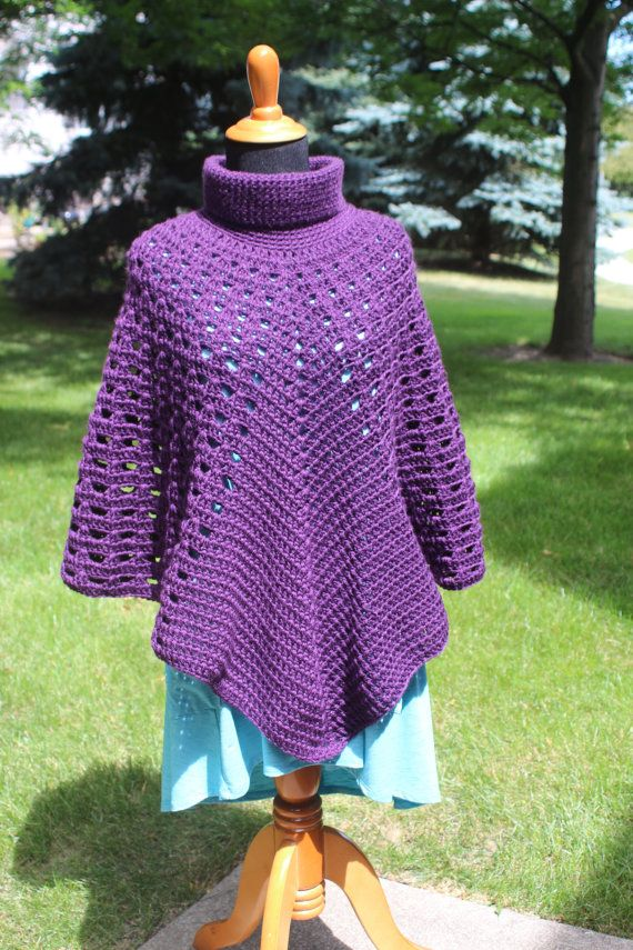 Turtleneck Poncho Pattern, Crochet Poncho Pattern, Boho Poncho ...