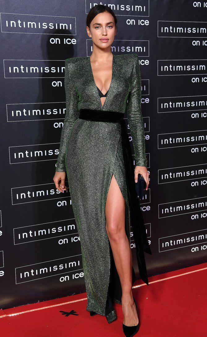 1726b3d099f26 Irina Shayk in a sparkling Alexandre Vauthier dress