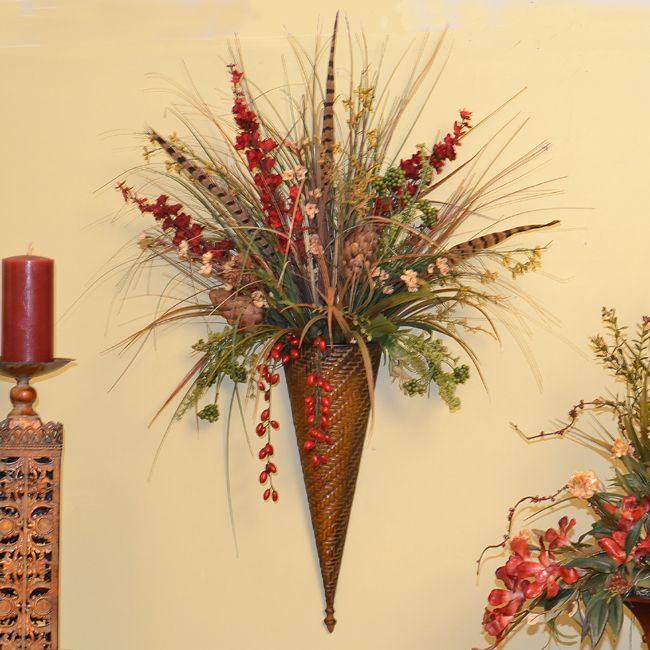 Wild Flower Silk Flower Wall Sconce - Click Image to Close ... on Pocket Wall Sconce For Flowers id=94513