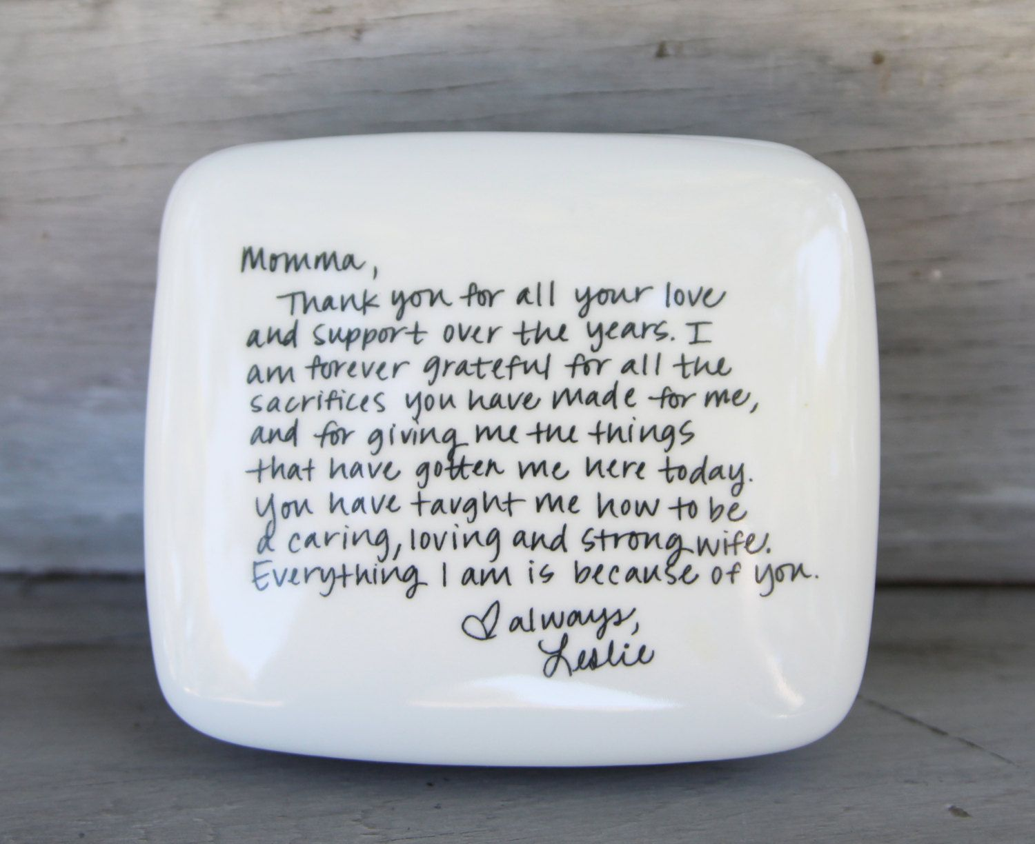 Handwritten Letter Box Message On Top Of Wedding Thank You Mom Mother Bride And Dad By Rememberwhenceramics Etsy