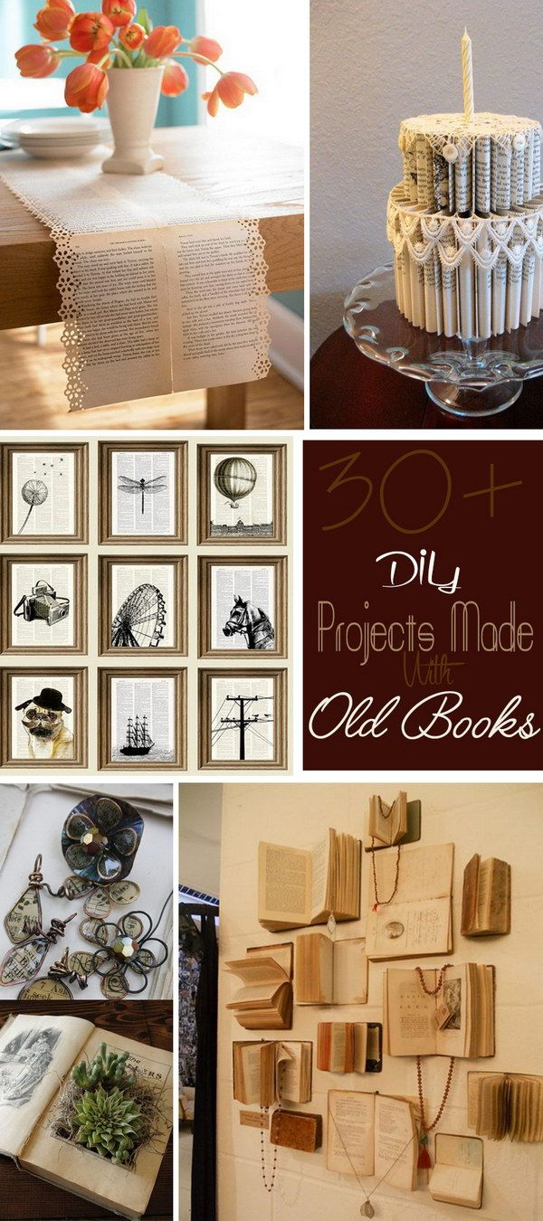 Diy Projects Made With Old Books Old Book Crafts Diy Book Upcycle Books