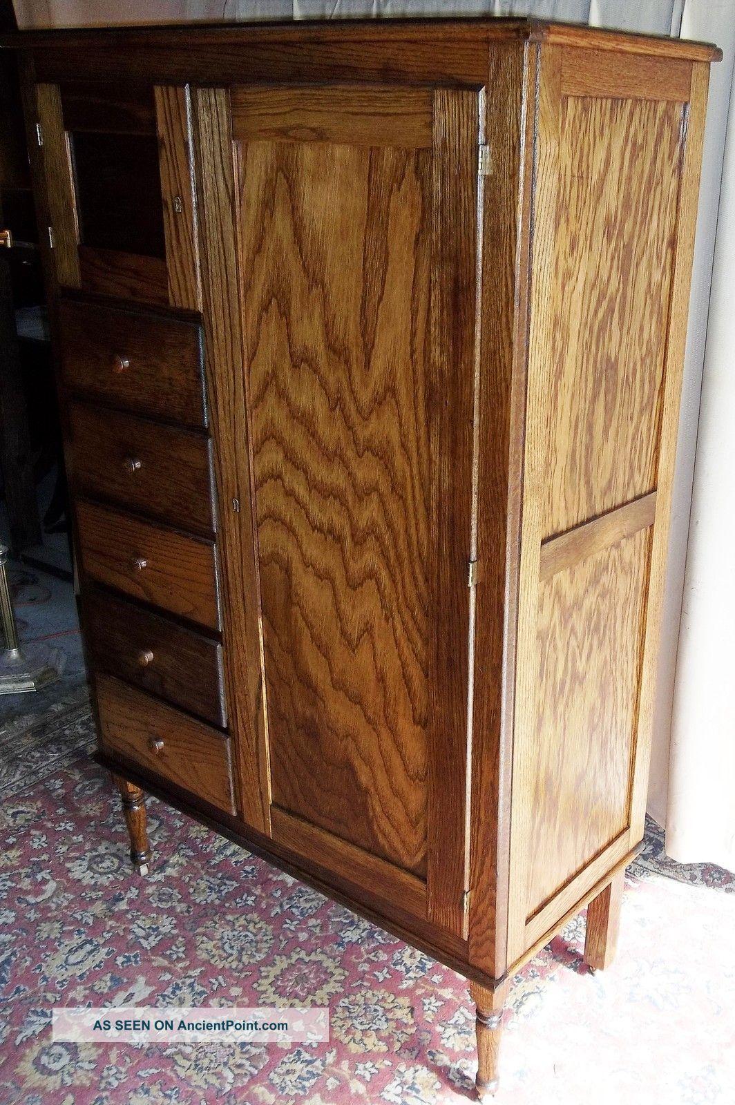 Antique Oak Chifferobe | Antique Oak Chifferobe Wardrobe/ Cabinet/ Dresser  With Bonnet 1900 .