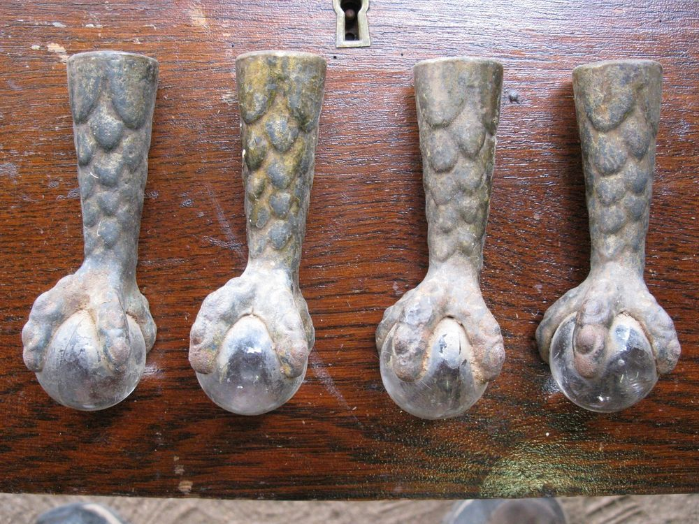Set Of 4 Matching Claw Foot Table Legs Clear Glass Ball Cast Iron