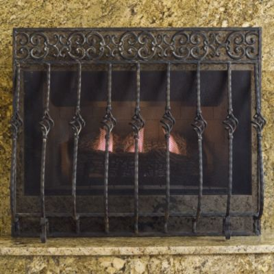 Tuscany Fireplace Screen With Mesh Interior Design Ideas