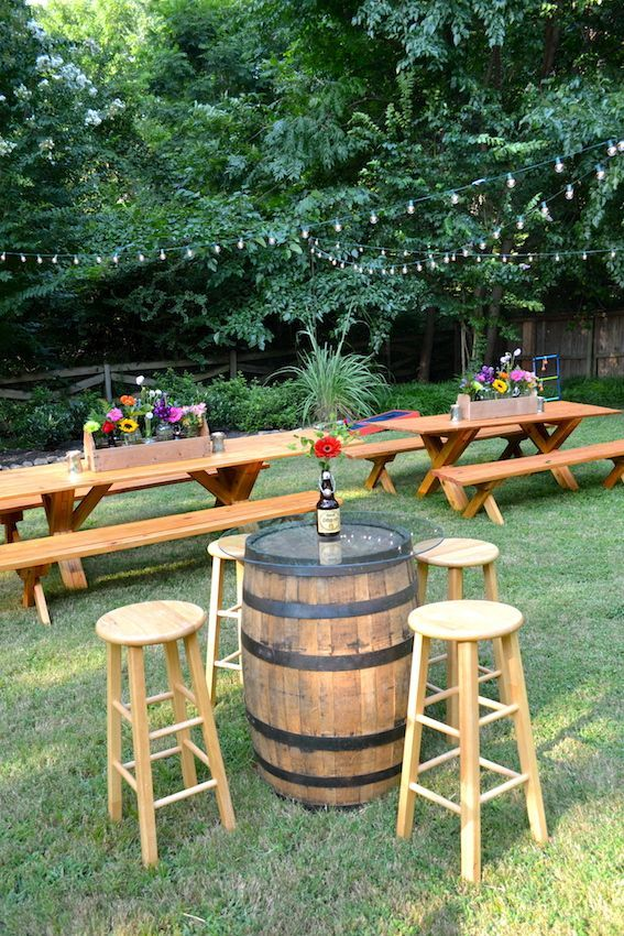 Casual Backyard Biergarten Engagement Party: Picnic Tables U0026 Whiskey Barrel  Bistro Tables With Pub Stools U0026 Flowers