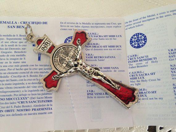 """3 """"St. Benedict Medal krzyż, czerwony i srebrny wykończenie, egzorcyzmy krucyfiks, Cruz de San Benito"""