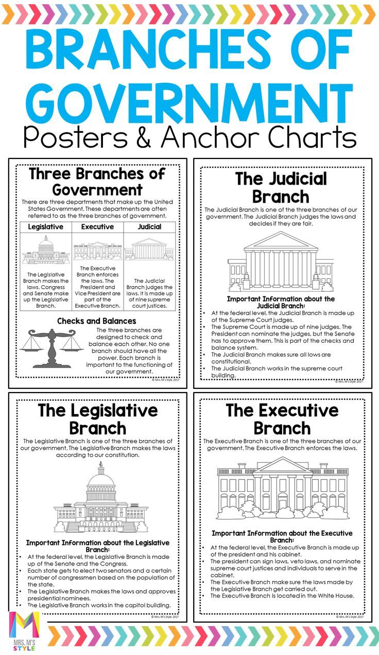 Branches Of Government Posters 3rd Grade Social Studies Social