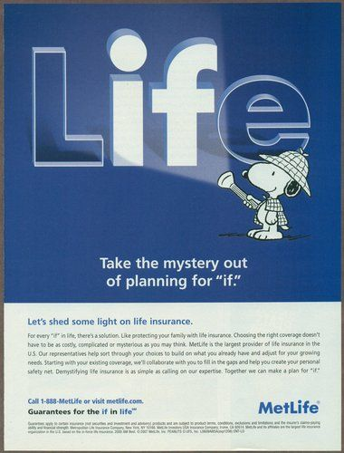 Metlife Car Insurance Quote Pleasing Metropolitan Life Insurance 2007 Magazine Print Ad Snoopy Art . Decorating Design
