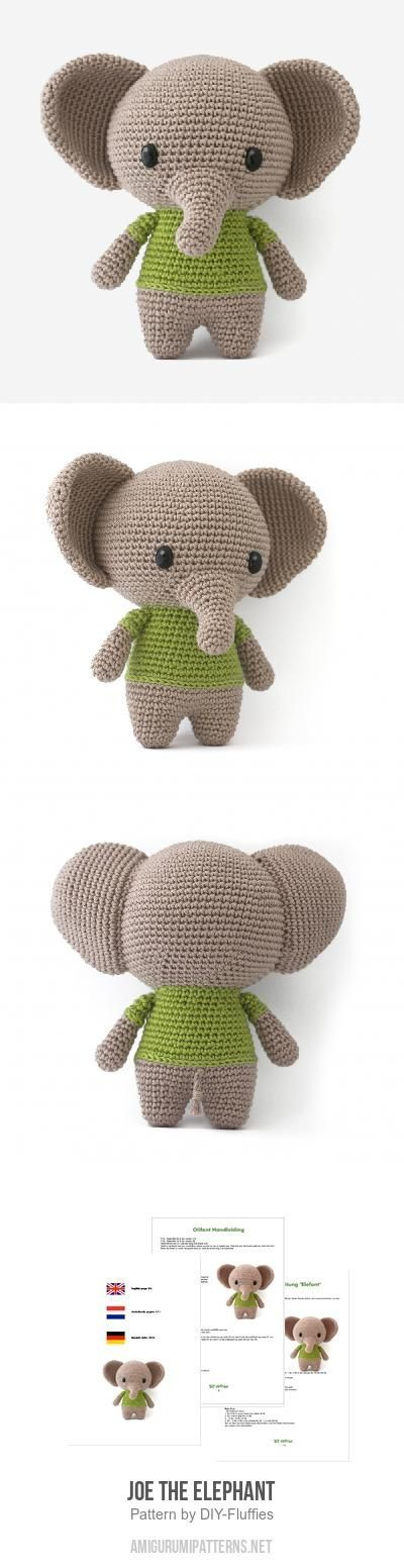Joe the Elephant amigurumi pattern by DIY Fluffies | Elefantes ...