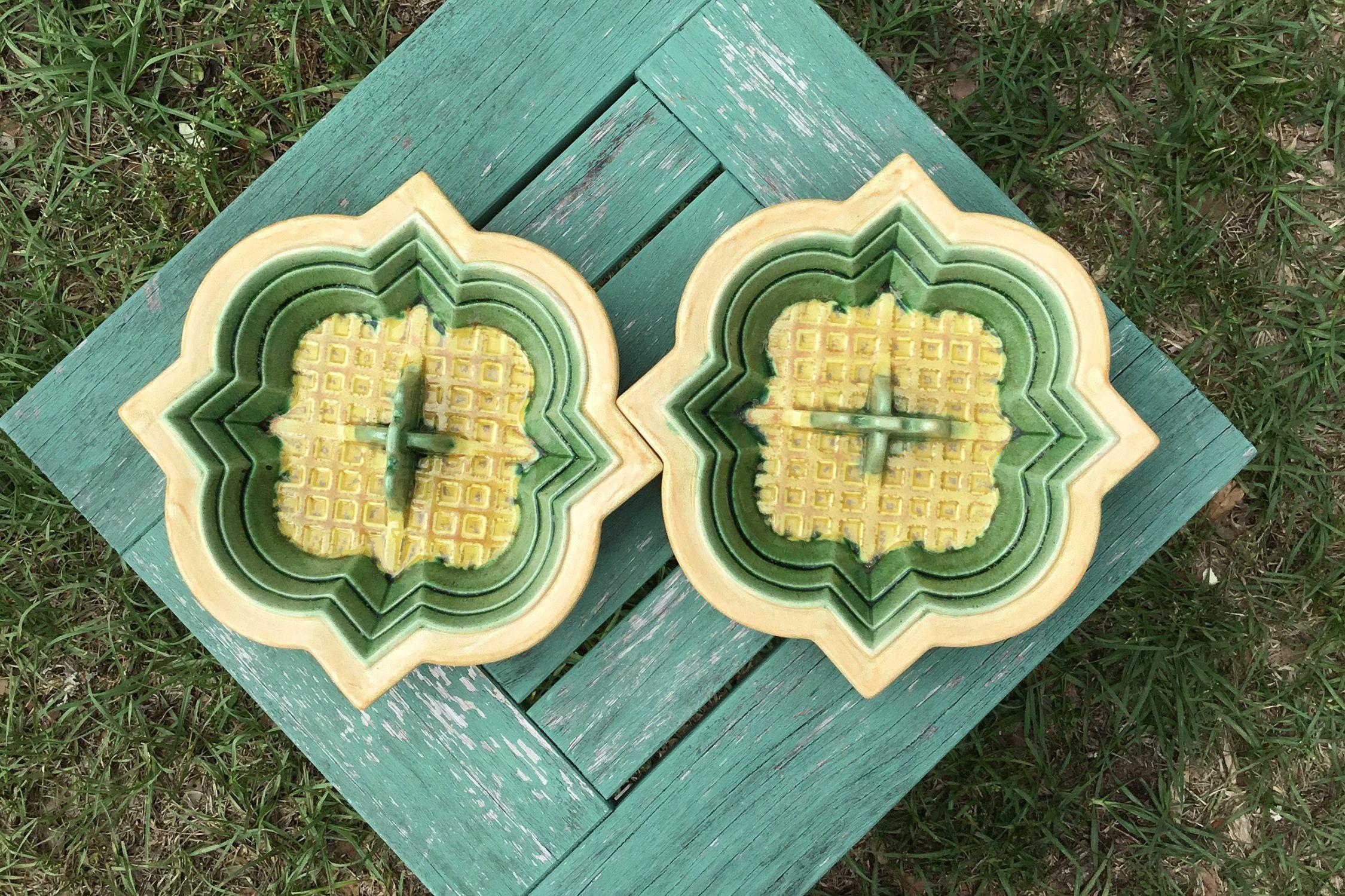 Rare Retro Vintage Yellow & Green Heavy Ceramic Ashtray / Wall decor ...