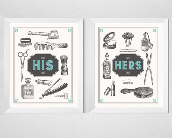 Bathroom Couple Prints His Hers 2 Piece Set Retro Aqua Cream