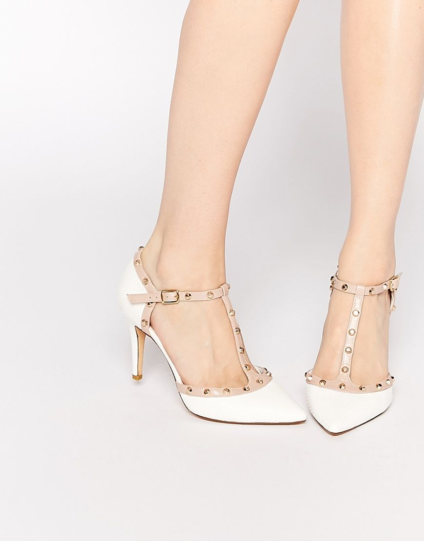 ASOS Collection Shoes Women Dune Cliopatra White Stud Heeled Shoes