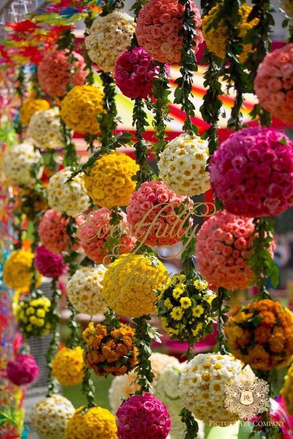 Photo Of Floral Balls Hanging Indian Wedding Flowers Beautiful Wedding Decorations Wedding Backdrop