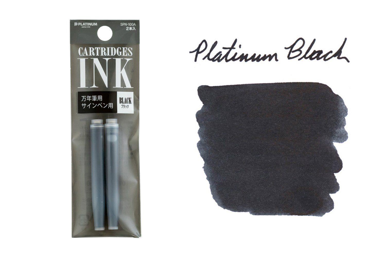 Set of 2 black fountain pen ink cartridges to fit Platinum cartridge/converter pens.