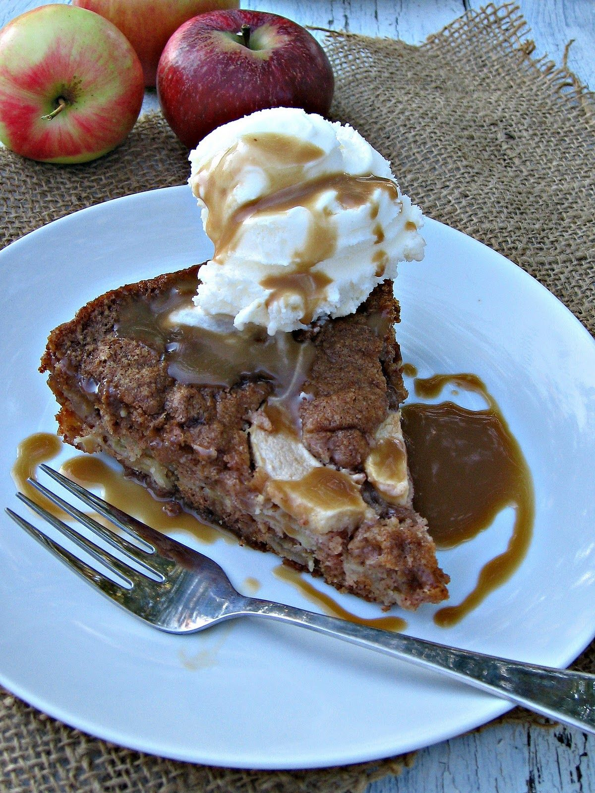 Spiced Apple Cake with Salted Caramel Sauce- think I just found the perfect dessert for a cool Fall evening.
