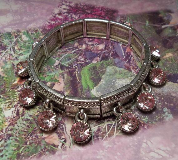 Vintage Pink Rhinestone Dangle Stretch Bracelet by imagiLena, $15.00 SOLD!