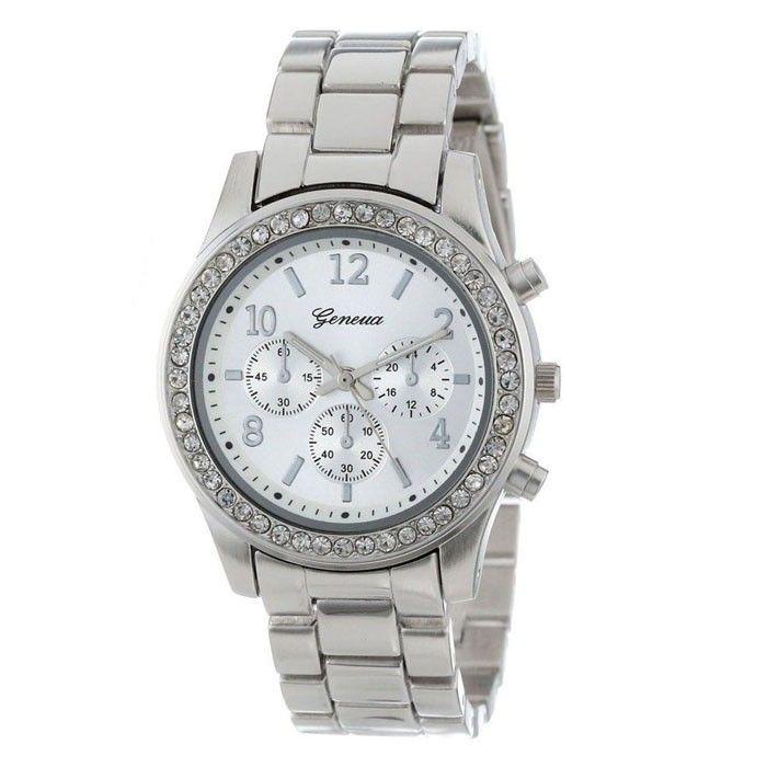043d41268 Dámské levné náramkové hodinky GENEVA s kamínky kovový řemínek ve stříbrné  barvě – Pošta zdarma Na tento produkt se vztahuje nejen zajímavá sleva, ...