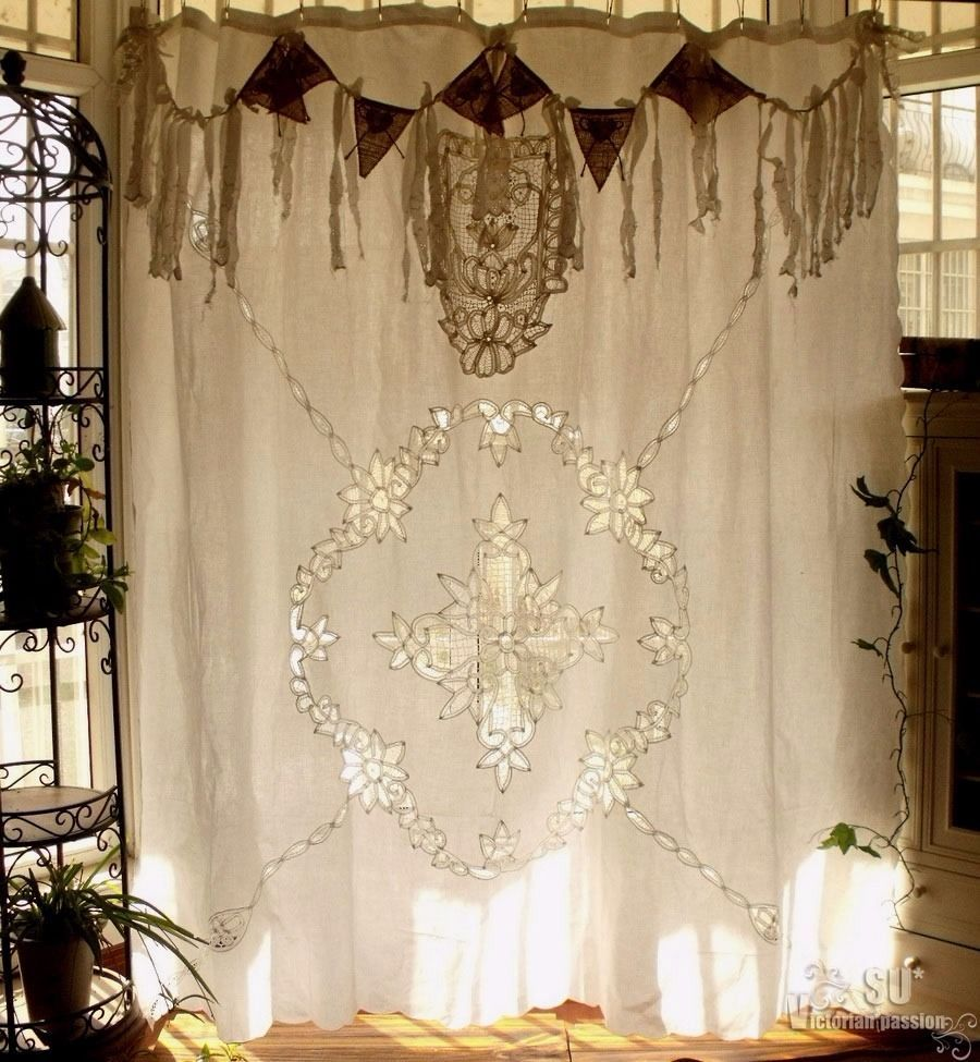 Antique Boho SHABBY Rustic Chic Burlap Lace SHOWER Curtain Fringe Gypsy Hearts