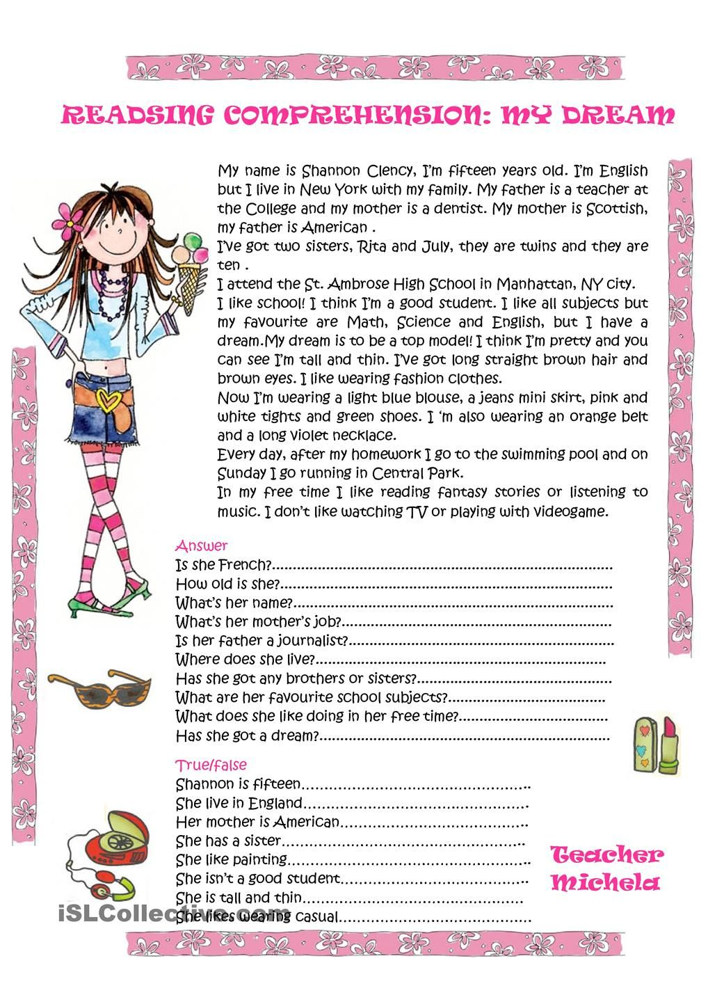 - Reading Comprehension: My Dream (With Images) Reading