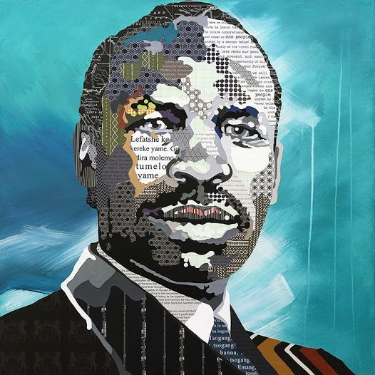 Eleanor Turvey, The Words of Sir Seretse Khama, 2014; mixed media collage on canvas, 91 x 91cm (Courtesy of the Artist and Erdmann Contemporary)