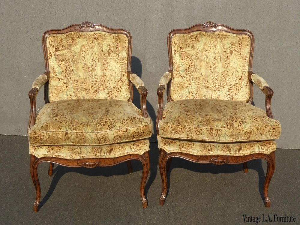 Pair of Vintage French Provincial Velvet Peacock Accent