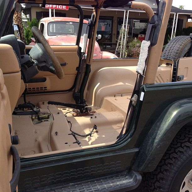 Another Shot Of Jeep Color Matchrhino Linings Of Ocean County Jeep Wrangler Interior Jeep Interiors Jeep Tj