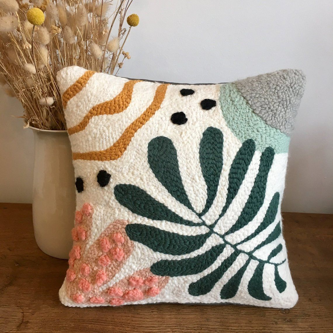 Abstract Cushion & Nature N. 2 In Punch Needle-on Order
