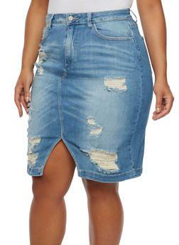 Plus Size Cello Distressed Denim Skirt - 3875063155463 | Plus size ...